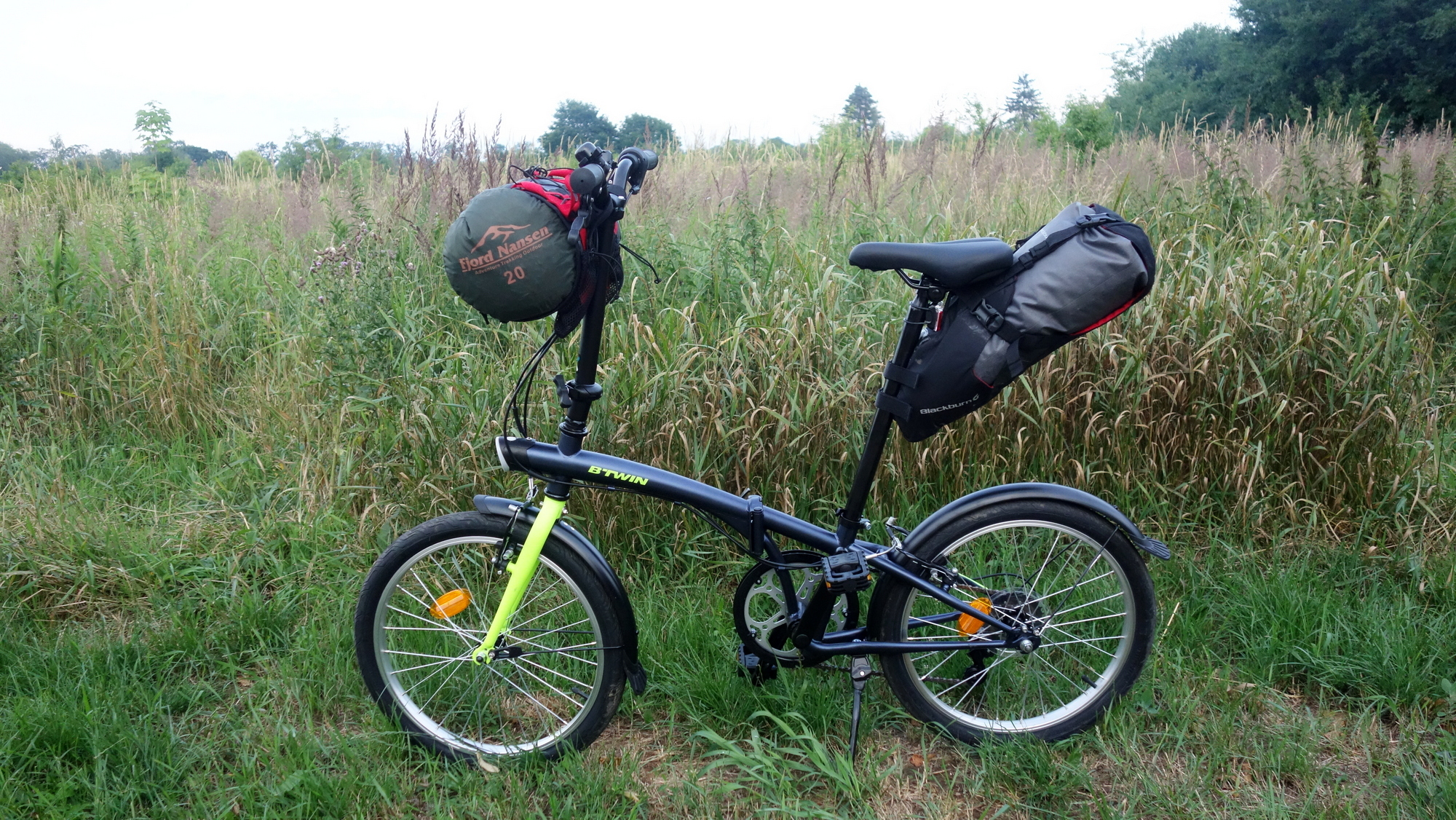 bikepacking, składak, torba podsiodłowa, uprząż na kierownicę